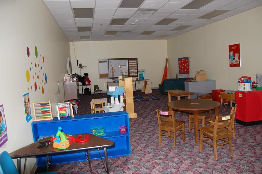The four-year-olds' room is set up in stations to get them prepared for Kindergarten.