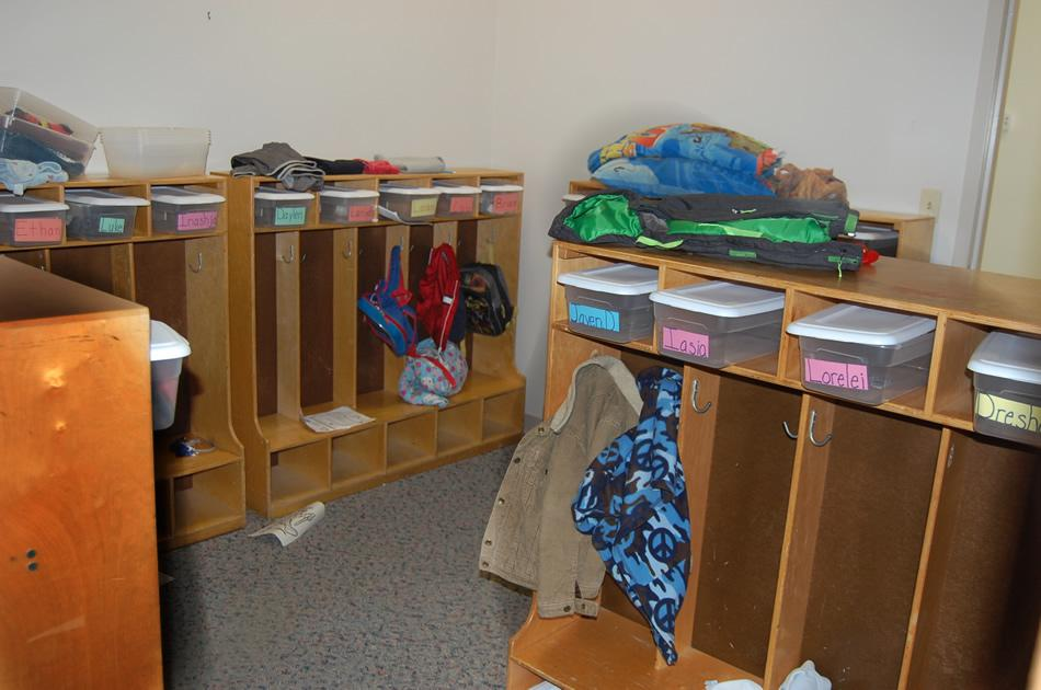 Each child has a designed area to keep his or her belongings.