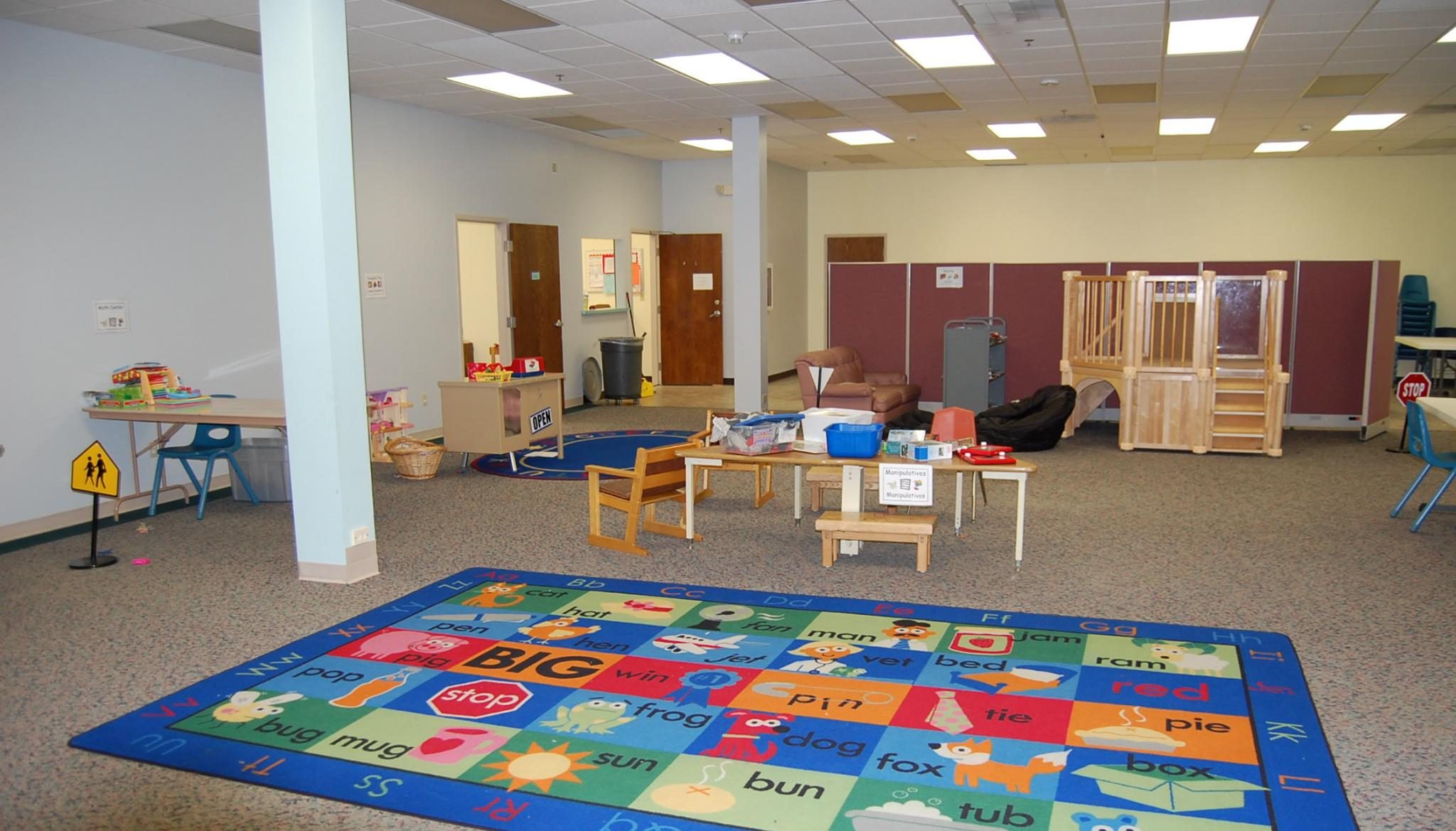 Our great room provides a wide-open space to play on rainy days.