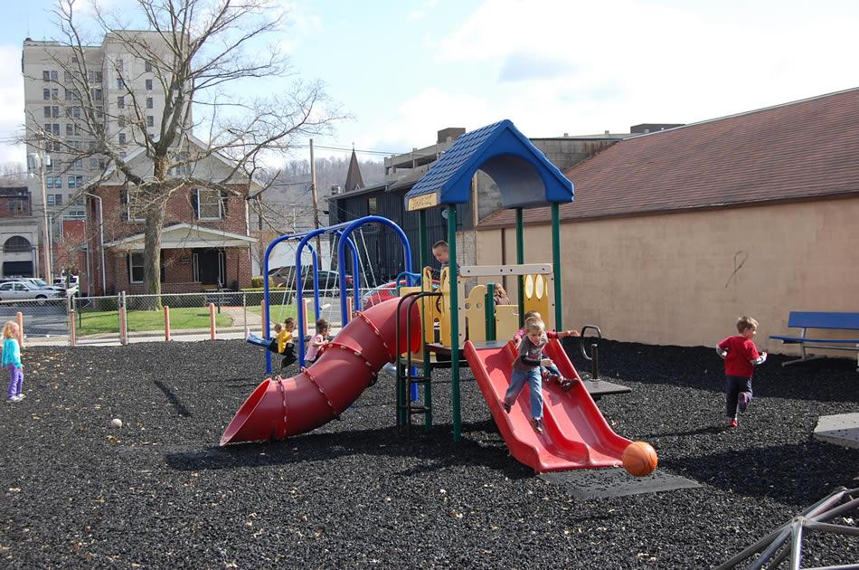 Our brand new playground is popular with all of our kids on sunny days.